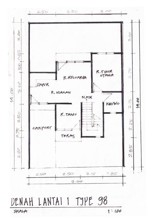 Denah Lantai 1 Rumah Minimalis Type 98