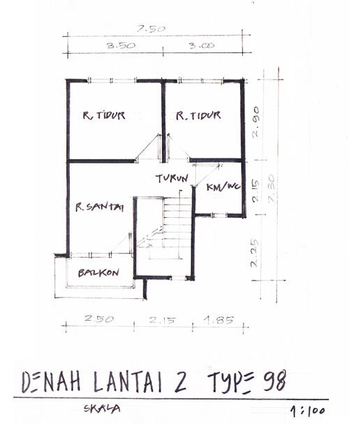 Denah Lantai 2 Rumah Type Minimalis Type 98