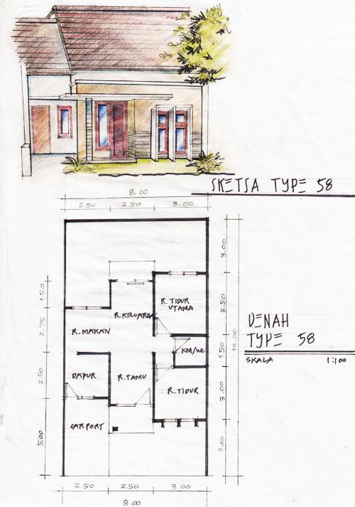 Sketsa & Denah Rumah Minimalis Type 58